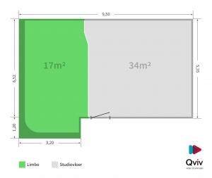 Qviv Chromakey studio plattegrond